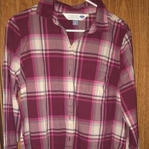 Old Navy Pink Plaid Button Up